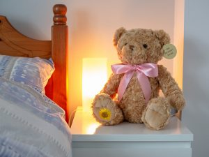 A soft plush teddy bear with light brown fur with a zip compartment at the back for storing keepsakes or ashes