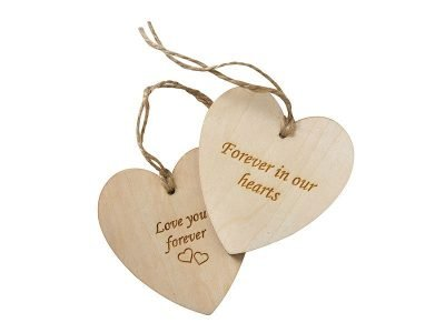 Heart shaped wooden keepsake tags to attach a name or personal message to a coffin, ashes urn or as keepsakes. Can be engraved, personalised or decorated. Perfect for children as a keepsake.